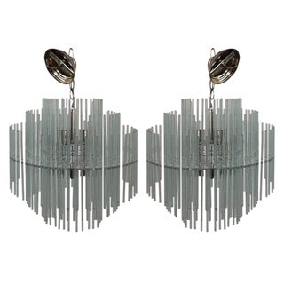 Gaetano Sciolari Glass Tier Chandeliers - Pair For Sale
