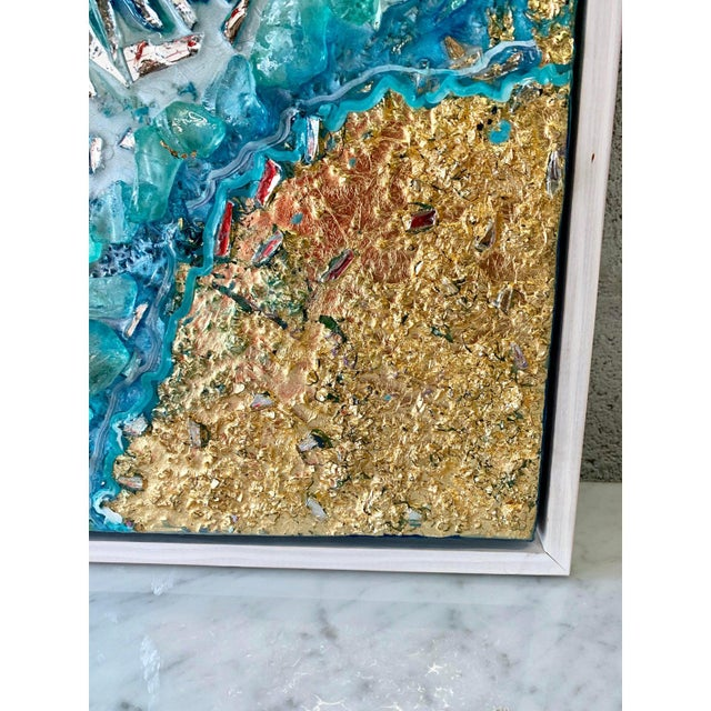 Unique Abstract Framed Oil Painting With Resin and Rock Crystal on Canvas by Franchy For Sale - Image 12 of 13