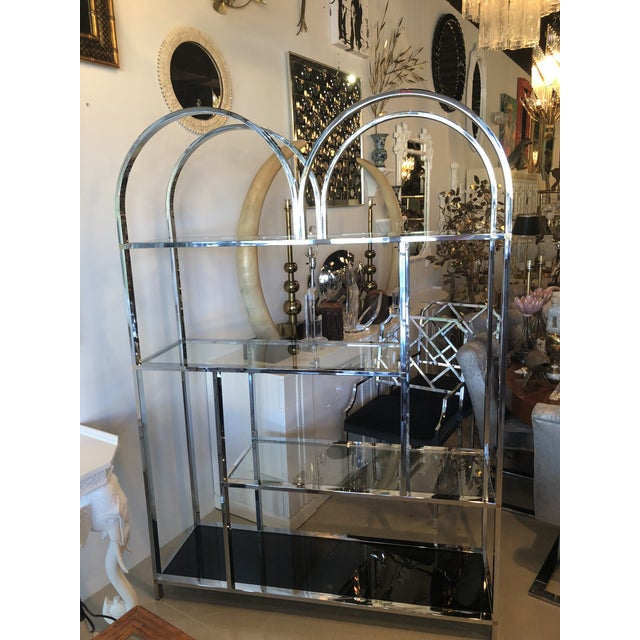 Vintage Arched Chrome Glass Display Shelf Shelves Etagere For Sale - Image 13 of 13