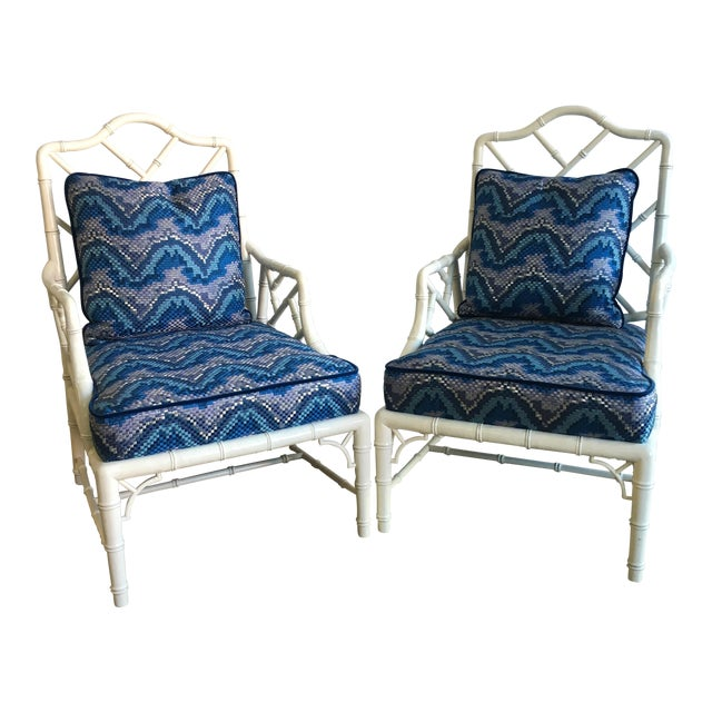 Vintage White Faux Bamboo Club Chairs - A Pair - Image 1 of 7