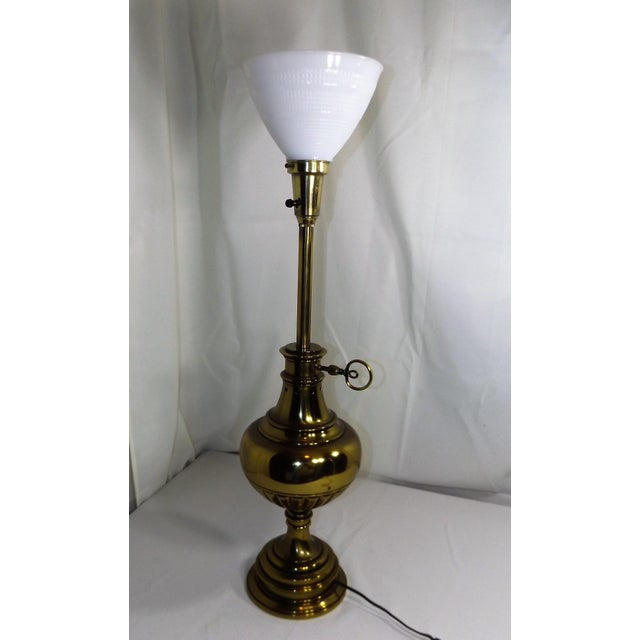 Brass Table Lamp With Milk Glass Diffuser and Cloth Shade For Sale - Image 6 of 8