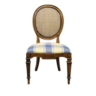 Late 20th Century Vintage White of Mebane Lorraine Collection Louis XV French Oval Back Chair For Sale