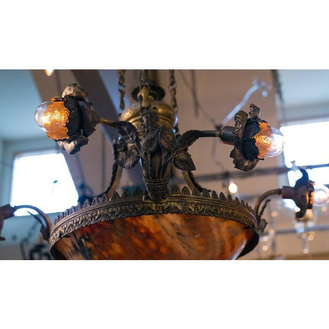 Art Nouveau French Art Nouveau Floral Alabaster and Bronze Chandelier For Sale - Image 3 of 9