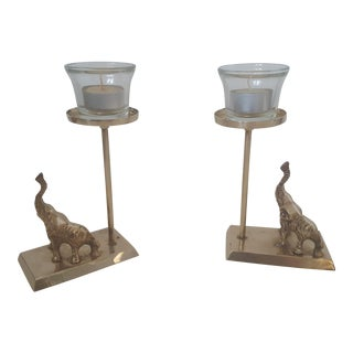 Set of Brass Elephant Trunks Up Candle Holders