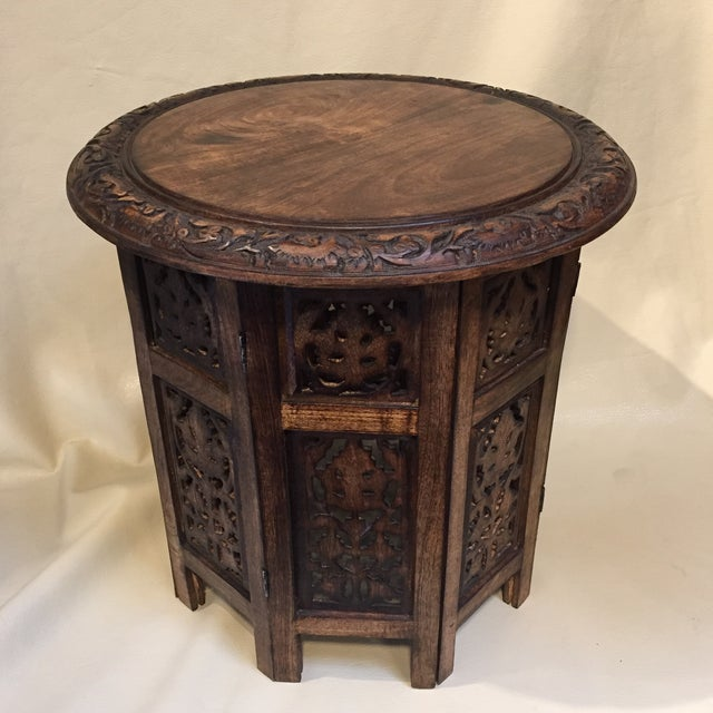 Brown Teak Carved Round Table For Sale - Image 8 of 8