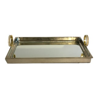 Contemporary Mirrored Gold Tray For Sale