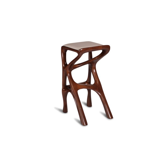 Abstract Amorph Chimera Bar Stool, Stained Walnut For Sale - Image 3 of 13