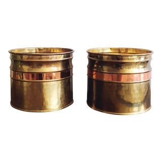 Vintage Irish Hammered Brass and Copper Planters, a Pair For Sale