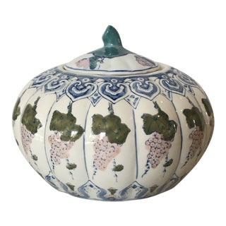 Chinoiserie Pumpkin Ginger Jar For Sale