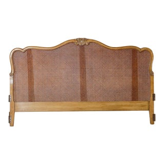 1950s Vintage French Provincial Cane King Headboard For Sale