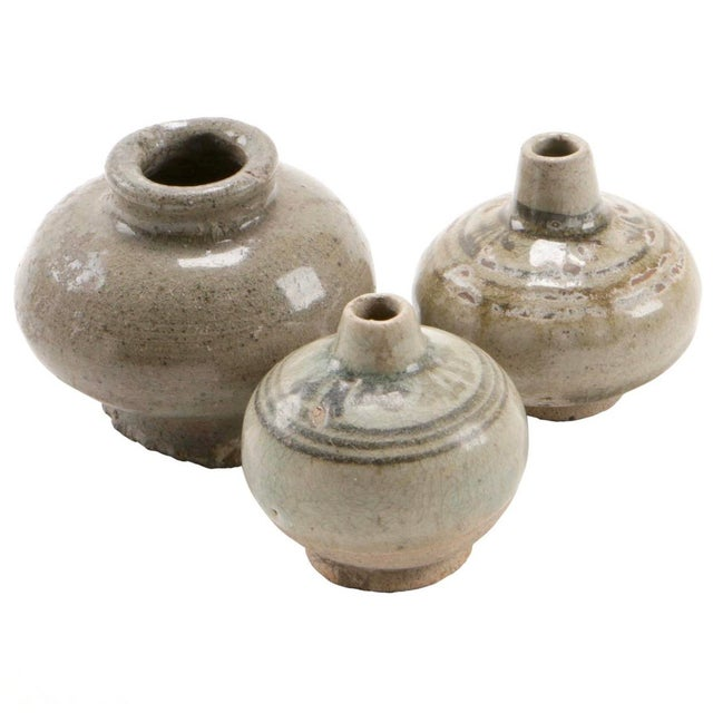 Green Antique Thai Stoneware Vases - Set of 3 For Sale - Image 8 of 8