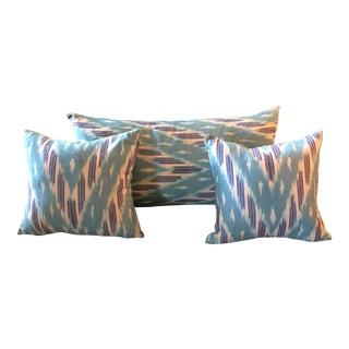 Turquoise Ikat Southwestern Style Pillows