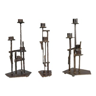 1960s Paul Evans Welded Metal Brutalist Candlesticks - Set of 3 For Sale