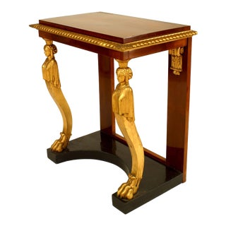 Baltic Neoclassic Parcel-Gilt, Ebonized and Mahogany Console Table For Sale
