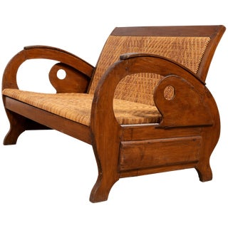 Vintage Dutch Colonial Midcentury Teak Wood and Rattan Settee With Looping Arms For Sale