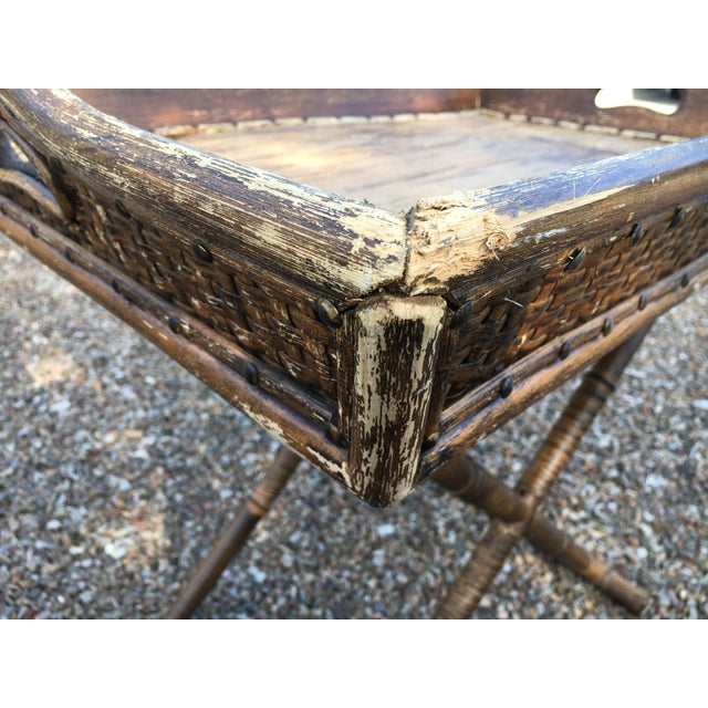1950s Boho Chic Tray Table With Folding Base For Sale In Phoenix - Image 6 of 10