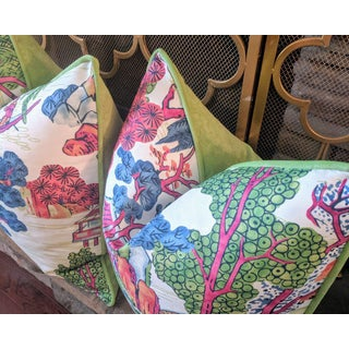 Chinoiserie Style Asian Scenic Thibaut Fabric Pillow Covers- A Pair Preview