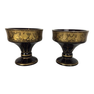 Antique Moser Glass Pair Hand Paint Decorations With Gold For Sale