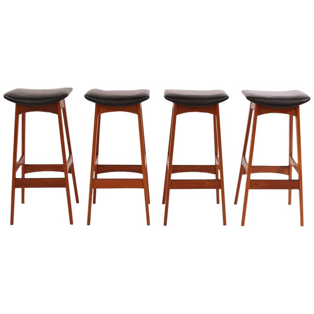 1960s Johannes Andersen Teak and Leather Barstools - Set of 4 For Sale