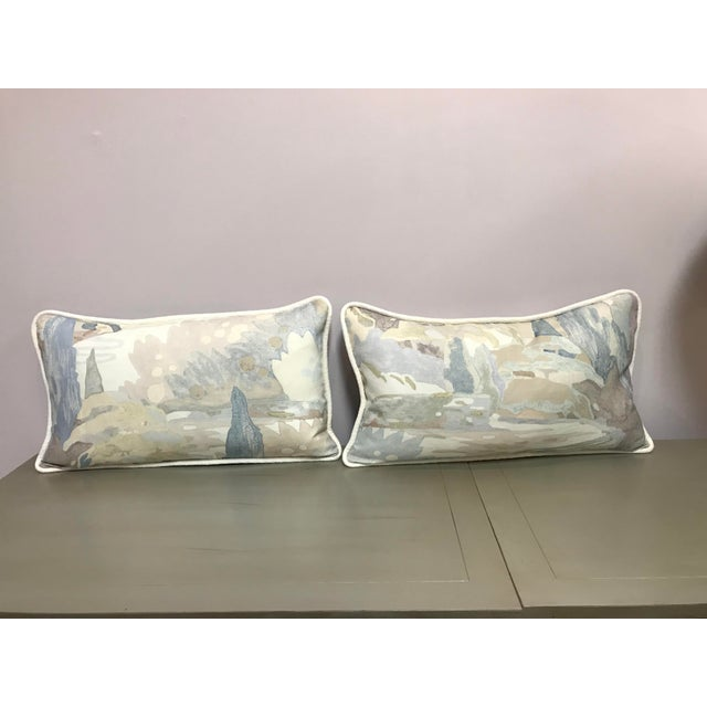 Beacon Hill Decorative Pillows Soo Locks Frost Pattern on Linen Lumbar Pillows - a Pair For Sale - Image 9 of 9