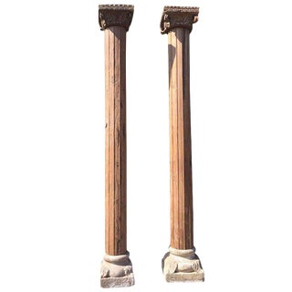 Monumental Solid Wood Carved Columns With Stone Bases - A Pair