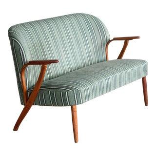 Danish Midcentury Sofa with Teak Armrests in the Style of Kurt Olsen for Bramin For Sale