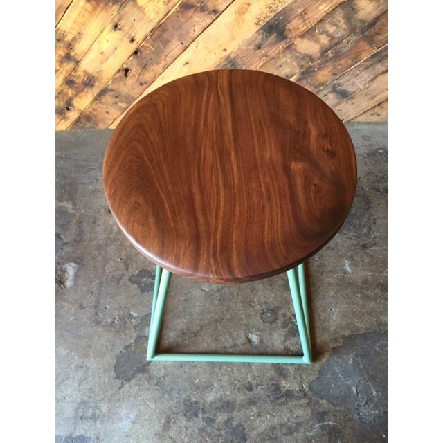 Industrial Walnut & Sage-Painted Steel Stool For Sale - Image 3 of 4