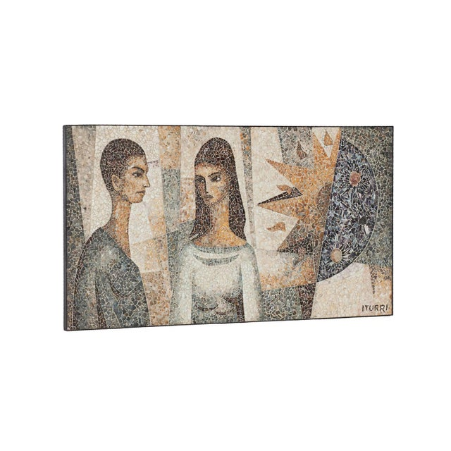 "Stunning artwork by Manuel Iturri (1897-1967) ""Amour Indien"", 1964 sea shell inlay mosaïc portraying man, woman, sun and..."