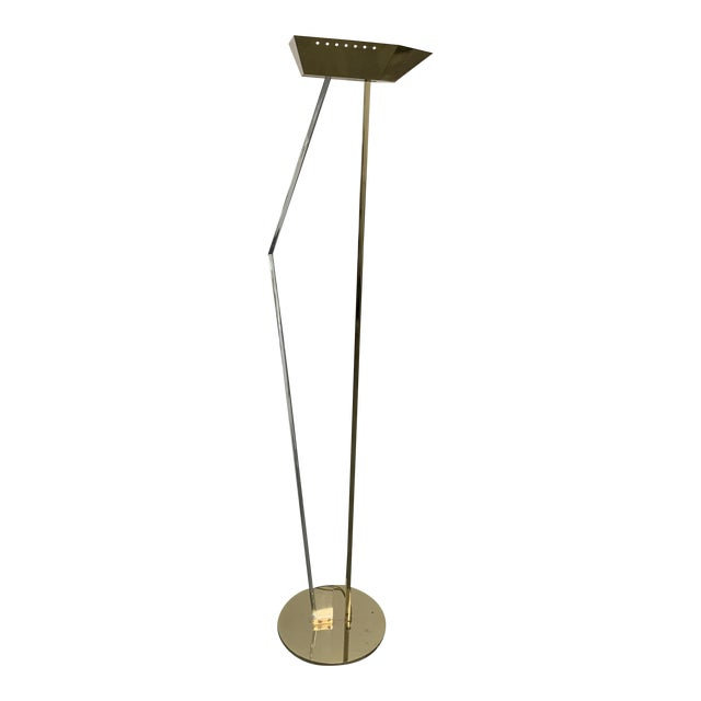 Mid-Century Lucite and Brass Floor Lamp For Sale