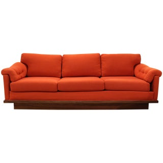 Mid-Century Modern Baughman for James Walnut Plinth Base Three-Seat Sofa Orange For Sale