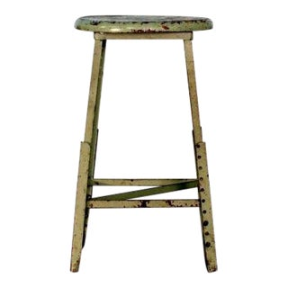 Pair of Industrial Adjustable Bar Stools For Sale