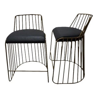 Custom Black & Leather Gold Metal Bar Stools - a Pair For Sale
