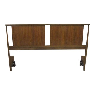 Mid-Century Wood Full Headboard Bed