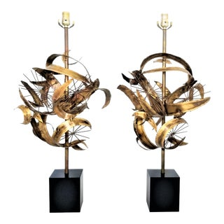 Mid Century Modern Brutalist Brass Lamps Designed by Bijan for Laurel Lamp Company - Both Labeled - a Pair For Sale