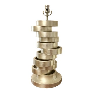 Modern Currey & Company Stacked Rings Silver Table Lamp For Sale