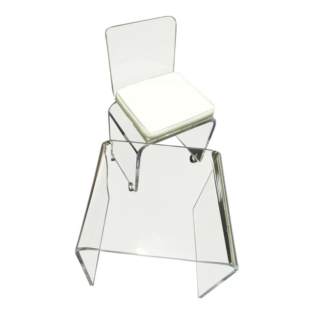 Vintage Lucite Table & Chair For Sale