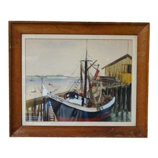 "Vintage Mid-Century ""Queen Mary Boat in Provincetown Harbor"" Painting For Sale"