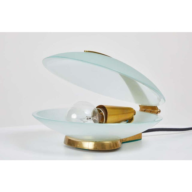 Metal Max Ingrand Glass and Brass Shell Table Lamps for Fontana Arte, Circa 1960 For Sale - Image 7 of 13