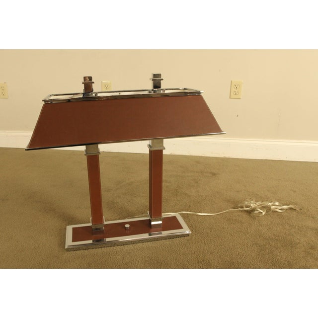 High Quality Chrome & Leather Double Light Desk Lamp by Ralph Lauren