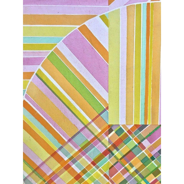 Mid-Century Modern Hard Edge Optical Art Painting, Signed, Circa 1960s For Sale - Image 4 of 13