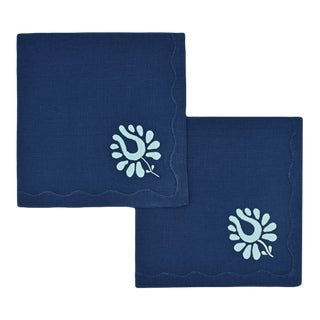 Indian Tulip Dinner Napkins, Navy and Aqua - Set of 2 For Sale