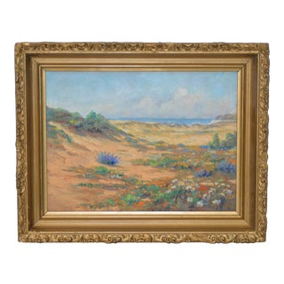 Early 20th Century California School Flowering Coastal Dunes Oil Painting C.1930 For Sale