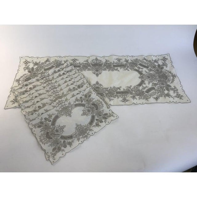 Tan Vintage Hand Embroidered Placemats and Table Runner - Set of 9 For Sale - Image 8 of 8