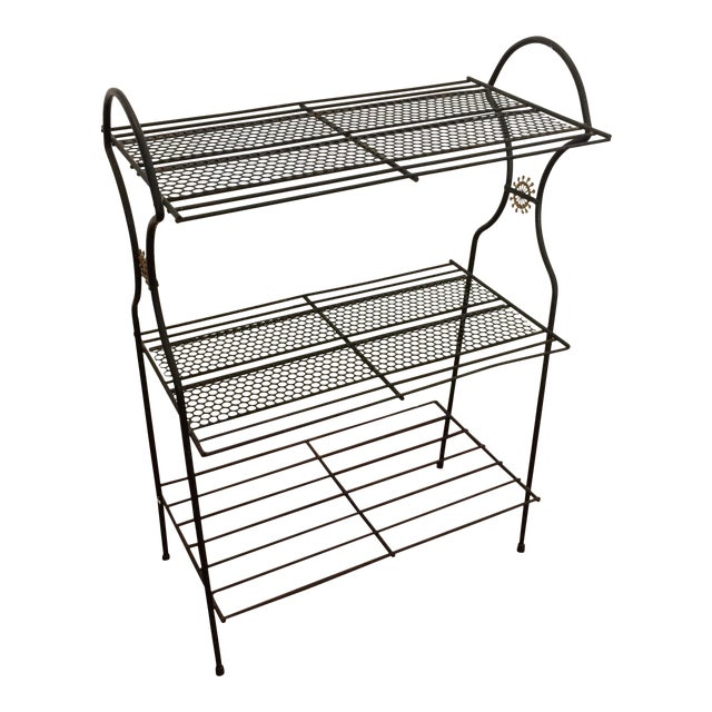 Mid-Century Atomic Perforated Metal Stand - Image 1 of 6