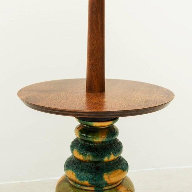 1960s California Studio Ceramic Drip-Glaze Floor Lamp With Teak Table For Sale - Image 4 of 10