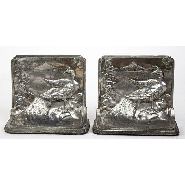 Silver Pompeian Bronze Co. Art Nouveau Peacock Bookends - a Pair For Sale - Image 8 of 8