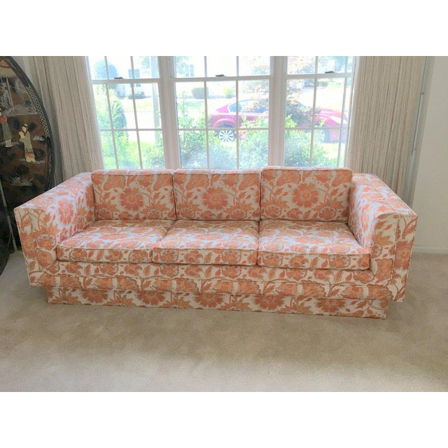 Mid Century Modern Milo Baughman Style Orange Indian Print Upholstery Plinth Base Sofa For Sale - Image 9 of 9