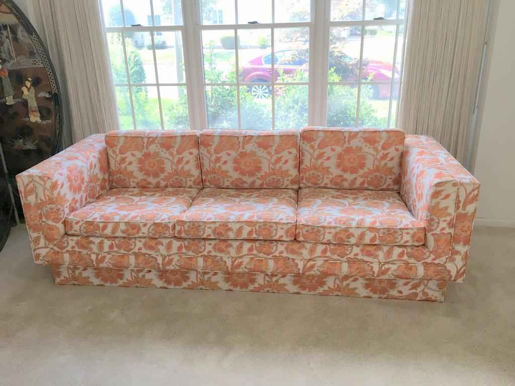 Mid Century Modern Milo Baughman Style Orange Indian Print Upholstery  Plinth Base Sofa For Sale