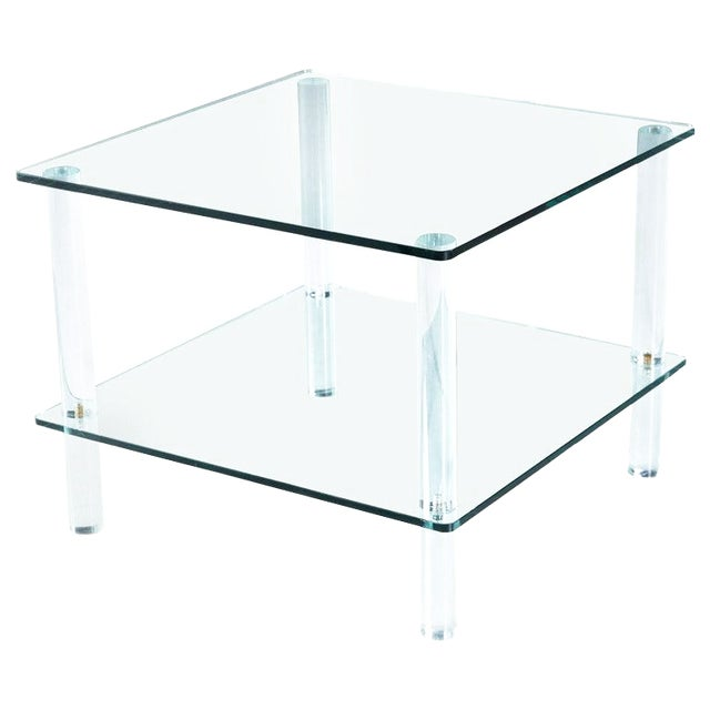 Leon Rosen for Pace Collection Style Lucite Screw Leg and Glass Coffee Table For Sale