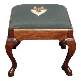 Vintage French Country Green Hand Painted Fox Footstool Ottoman Hoof Feet Signed For Sale